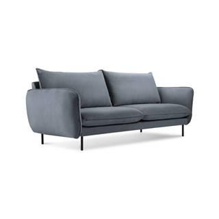 Sivá zamatová pohovka Cosmopolitan Design Vienna, 160 cm