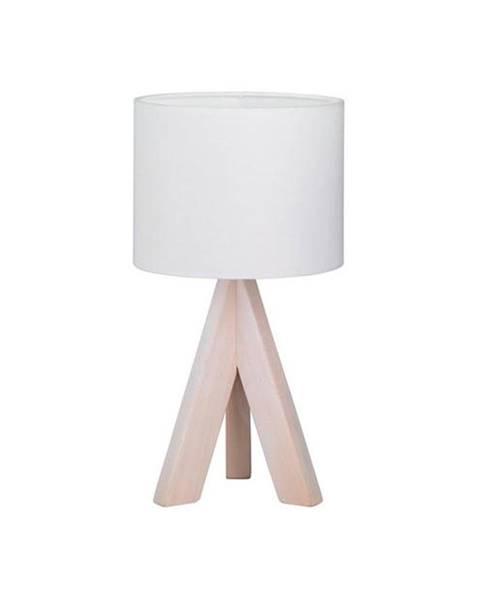 Trio Biela stolová lampa z prírodného dreva a tkaniny Trio Ging, výška 31 cm