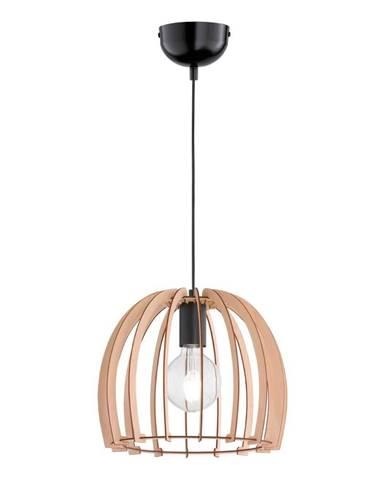 Béžové závesné svietidlo z dreva a kovu Trio Pendant Wood, výška 150 cm