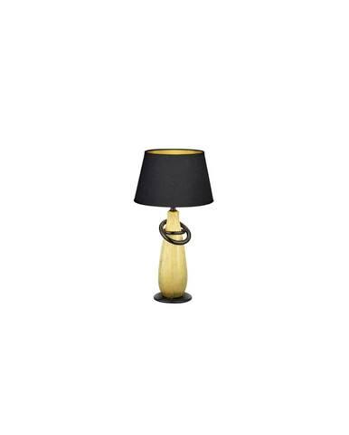 Čierna stolová lampa z keramiky a tkaniny Trio Thebes, výška 38 cm