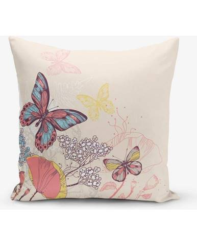 Obliečka na vankúš s prímesou bavlny Minimalist Cushion Covers Butterflies, 45 × 45 cm