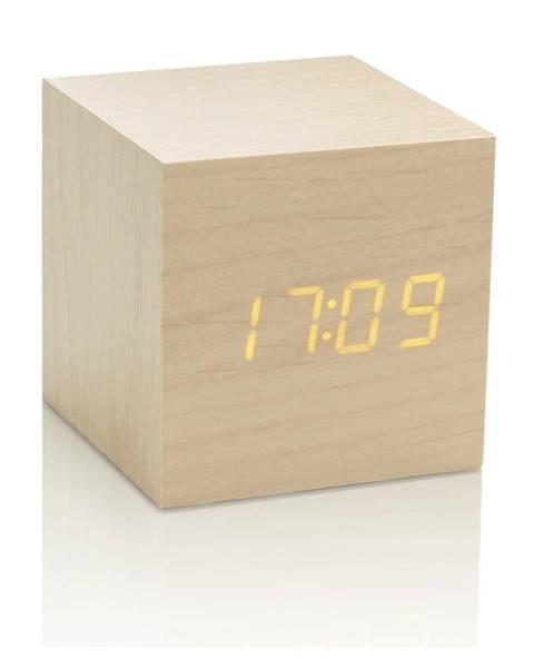 Gingko Svetlohnedý budík so žltým LED displejom Gingko Cube Click Clock