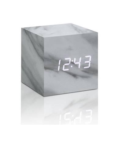 Budík v mramorovom dekore s bielym LED displejom Gingko Cube Click Clock