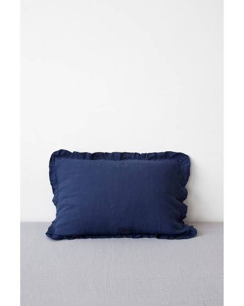 Linen Tales Námorníckymodrý ľanový vankúš s riaseným lemom Linen Tales, 50 x 60 cm