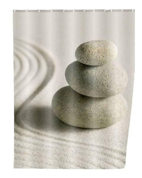 Wenko Sivý sprchový záves Wenko Sand, 180×200 cm