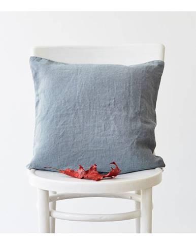 Svetlomodrá ľanová obliečka na vankúš Linen Tales, 45 x 45 cm