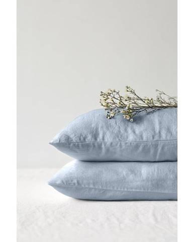 Svetlomodrý ľanový vankúš Linen Tales, 70 x 90 cm