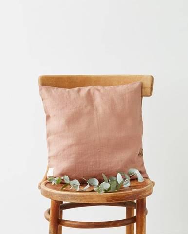 Terakotovohnedá ľanová obliečka na vankúš Linen Tales, 45 x 45 cm
