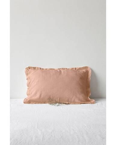 Terakotovohnedá ľanová obliečka na vankúš s riaseným lemom Linen Tales, 50 x 60 cm