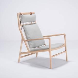 Kreslo s konštrukciou z dubového dreva s modrosivým textilným sedadlom Gazzda Dedo