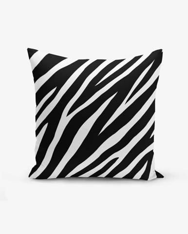 Čierno-biela obliečka na vankúš s prímesou bavlny Minimalist Cushion Covers Zebra, 45×45 cm