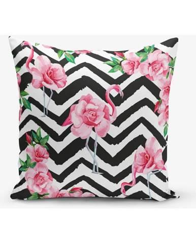 Obliečka na vankúš s prímesou bavlny Minimalist Cushion Covers Stripped Flamingo, 45×45 cm