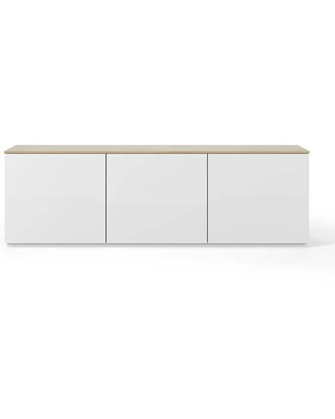 TemaHome Biely matný televízny stolík s doskou v dekore dubového dreva TemaHome Join, 180 × 57 cm