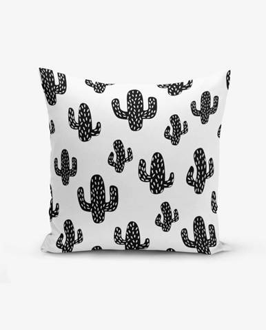 Čierno-biela obliečka na vankúš s prímesou bavlny Minimalist Cushion Covers Black White Cactus, 45×45 cm
