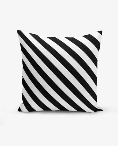 Čierno-biela obliečka na vankúš s prímesou bavlny Minimalist Cushion Covers Black White Seriti, 45×45 cm