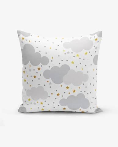 Obliečka na vankúš s prímesou bavlny Minimalist Cushion Covers Grey Clouds With Points Stars, 45×45 cm