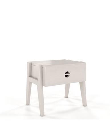 Biely nočný stolík z borovicového dreva so zásuvkou Skandica Visby Radom