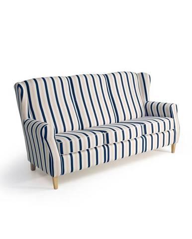 Modro-biela trojmiestna pruhovaná pohovka Max Winzer Lorris