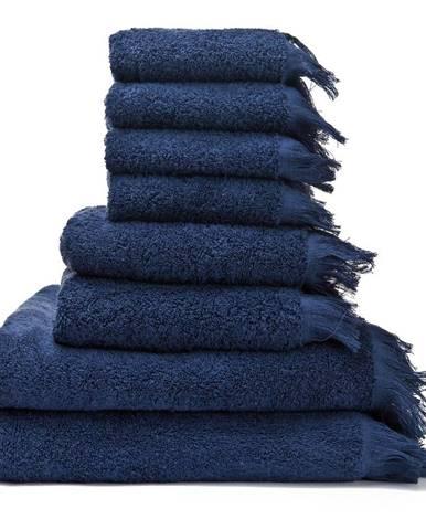 Súprava 6 modrých uterákov a 2 osušiek zo 100 % bavlny Bonami