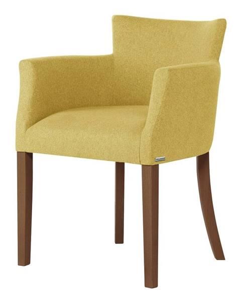 Ted Lapidus Maison Žltá stolička s tmavohnedými nohami Ted Lapidus Maison Santal