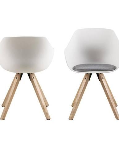 Súprava 2 bielych jedálenských stoličiek s nohami z kaučukového dreva Actona Tina