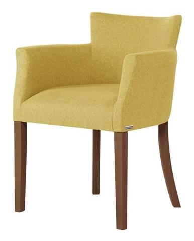 Žltá stolička s tmavohnedými nohami Ted Lapidus Maison Santal