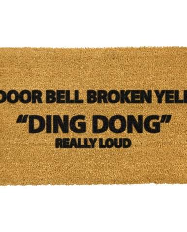 Rohožka z prírodného kokosového vlákna Artsy Doormats Yell Ding Dong, 40 x 60 cm