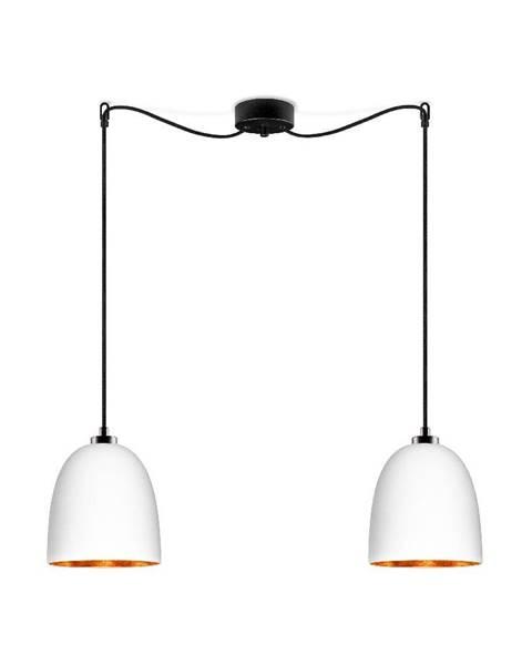 Sotto Luce Biele dvojité matné závesné svietidlo s čiernym káblom s detailom v medenej farbe Sotto Luce Awa