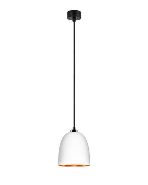 Sotto Luce Biele závesné svietidlo s čiernym káblom a detailami v medenej farbe Sotto Luce Awa