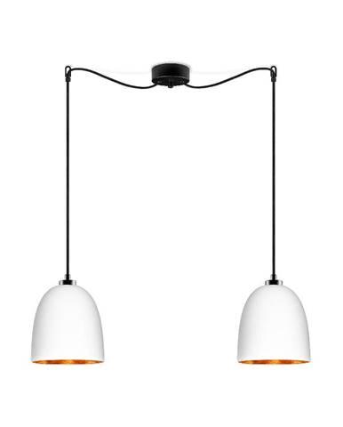 Biele dvojité matné závesné svietidlo s čiernym káblom s detailom v medenej farbe Sotto Luce Awa