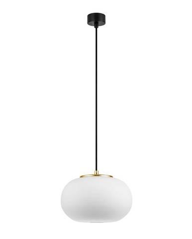 Biele závesné svietidlo s objímkou v zlatej farbe Sotto Luce dose