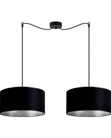 Čierne dvojité stropné svietidlo s vnútrajškom v striebornej farbe Sotto Luce Mika