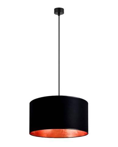 Čierne stropné svietidlo s vnútrajškom v medenej farbe Sotto Luce Mika, ∅50 cm
