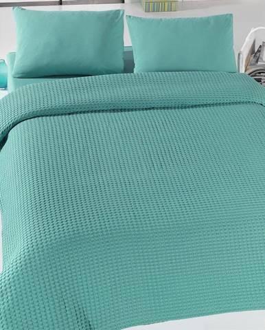 Zelený ľahký bavlnený pléd na posteľ Green Pique, 200x 240cm