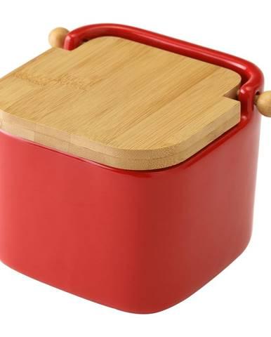 Červená keramická dóza na soľ Unimasa, 750 ml