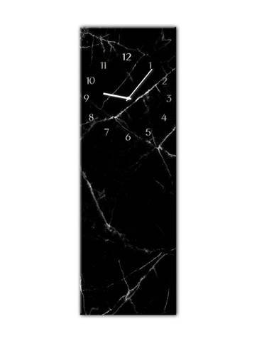 Nástenné hodiny Styler Glassclock Black Marble, 20×60 cm