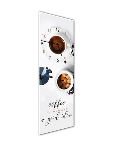 Nástenné hodiny Styler Glassclock Coffee Time, 20×60 cm