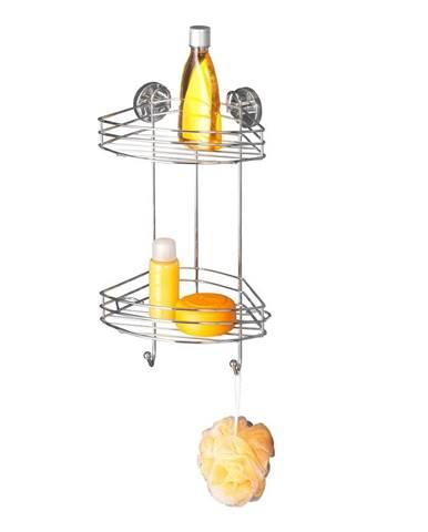 Samodržiaca rohová dvojposchodová polička Wenko Vacuum-Loc, nosnosť až33kg