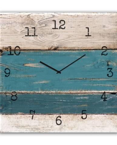 Nástenné hodiny Styler Glassclock Blue Wood, 30×30 cm
