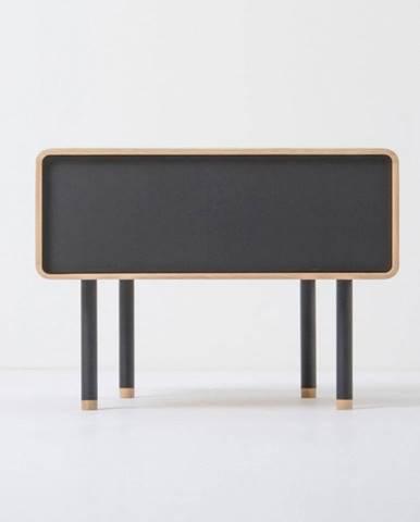 Nočný stolík z dubového dreva s čiernou zásuvkou Gazzda Fina