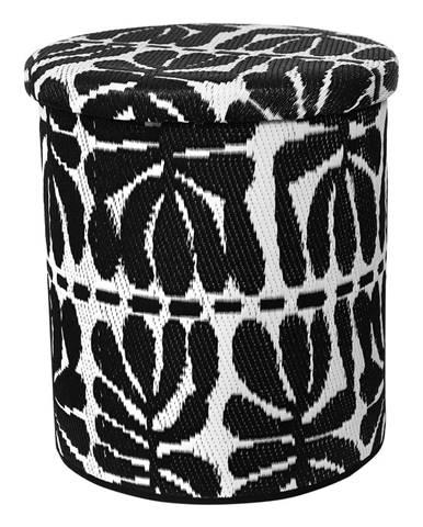 Čierno-biely vonkajší puf s úložným priestorom Fab Hab Serowe Black