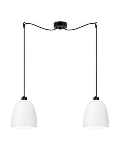 Biele dvojité matné stropné svietidlo s čiernym káblom Sotto Luce Awa