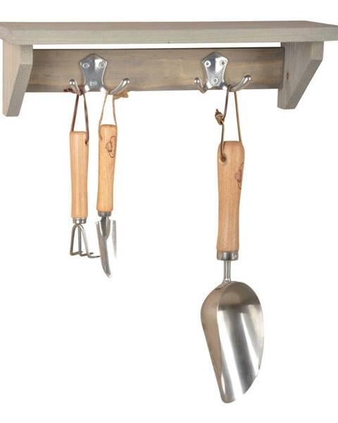 Ego Dekor Nástenná polica s vešiakom z borovicového dreva Esschert Design Stanley, šírka 39 cm