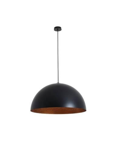 Čierne závesné svietidlo s detailom v medenej farbe Custom Form Lord, 70 cm