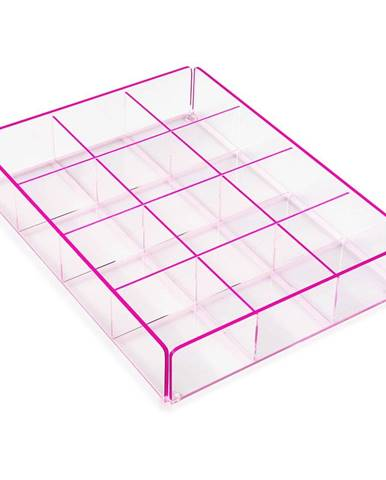 Ružový úložný box s 12 priehradkami Versa Ariel