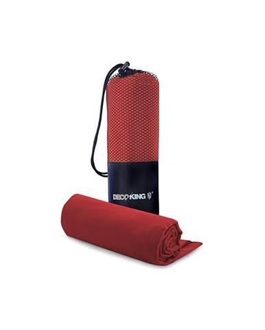Set červenej rýchloschnúcej osušky a uteráku DecoKing EKEA, 70 × 140 cm + 30 × 50 cm