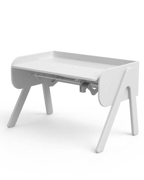 Flexa Biely písací stôl z borovicového dreva s nastaviteľnou výškou Flexa Woody