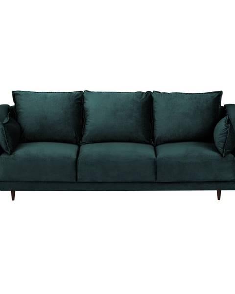 Mazzini Sofas Modrozelená zamatová rozkladaca pohovka s úložným priestorom Mazzini Sofas Freesia, 215 cm