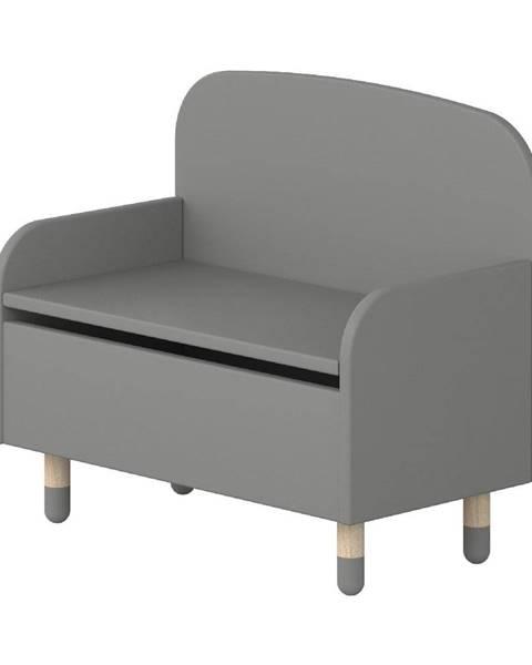 Flexa Sivá úložná lavica s opierkou Flexa Dots