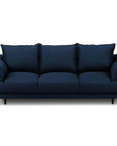 Modrá rozkladacia pohovka s úložným priestorom Mazzini Sofas Ancolie, 215 cm